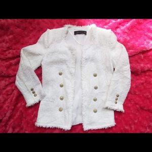 Zara White Tweed Fantasy Blazer